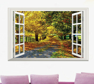 Large Maple Boulevard 3D Window View Removable Wall Art Sticker Decal Home Mural