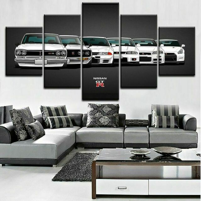 Luxury Car NISSAN GTR Cars Poster Canvas Print Painting Wall Art Decor 5PCS