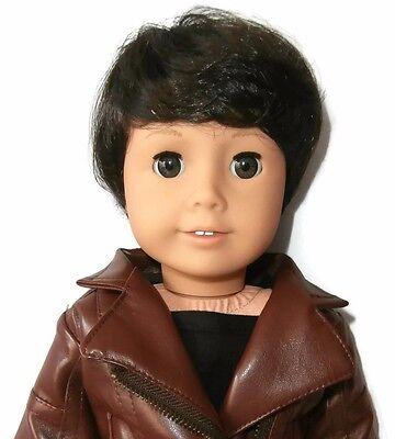"""Custom Boy Doll Wig 10-11"""" Dark Brown - Fits Logan"""