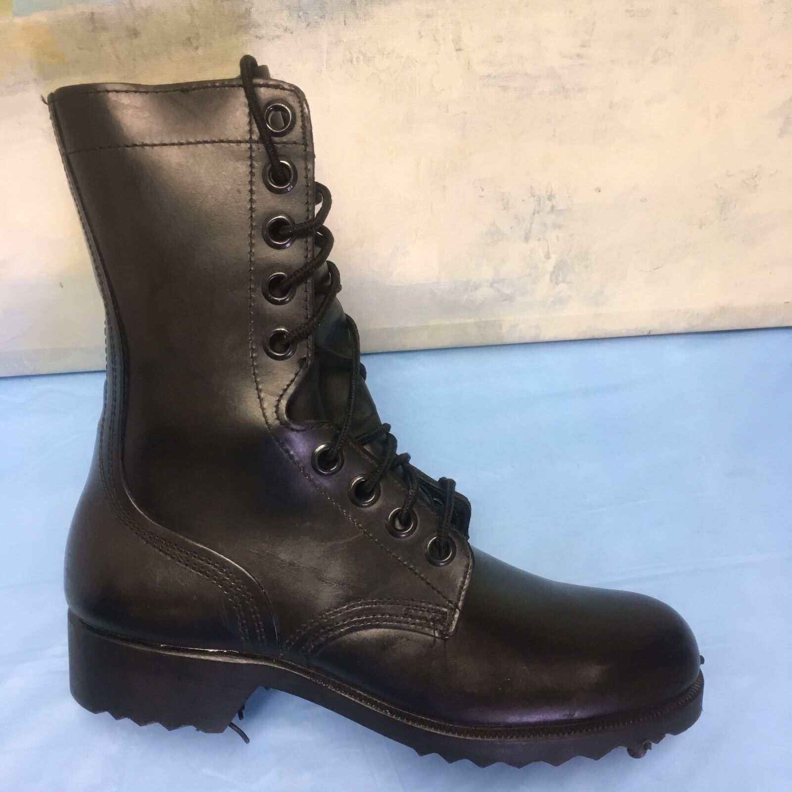Military Army Ladies Combat Black Leather Boots Size 5 R   3-75