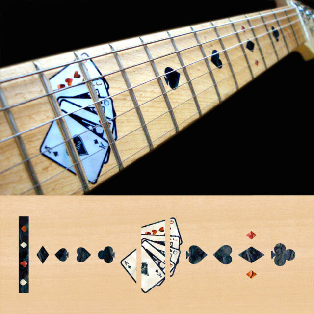 Inlay Stickers Decals Fret Markers For Guitar Neck - Playing Card - Black Pearl