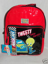 """NEW WITH TAGS LOONEY TUNES RED NASCAR KIDS TWEETY BACKPACK 11""""X15"""""""