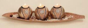 Teelichthalter-aus-Holz-m-Platte-3-Teelichter-51-cm-Kerzenstaender-Kerzenhalter