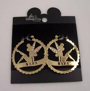Disney-earrings-Disneyland-Sara-Tinkerbell-Tinker-bell-bling-goldtone