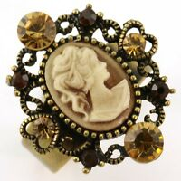 Antique Gold Vintage Style Cameo Ring Oval Lady Heart Brown Stone Crystal Cr6