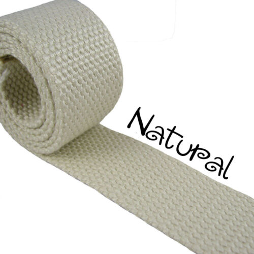 "1 Yard Natural 1.25/"" Medium Heavy Weight Cotton Webbing"