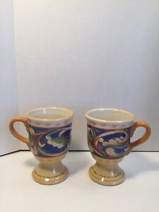 Pfaltzgraff-Villa-Della-Luna-Set-Of-2-Pedestal-Coffee-Tea-Cafe-Mugs-Cups-12oz