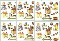 6 Small Sheets Gifted Line Baby Classic Toys Rocking Horse Scrapbook Stickers