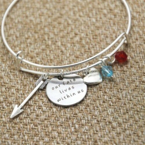 """Our Fate Lies Within Usl/"""" Silver Charm Bangle Brave Inspired"""