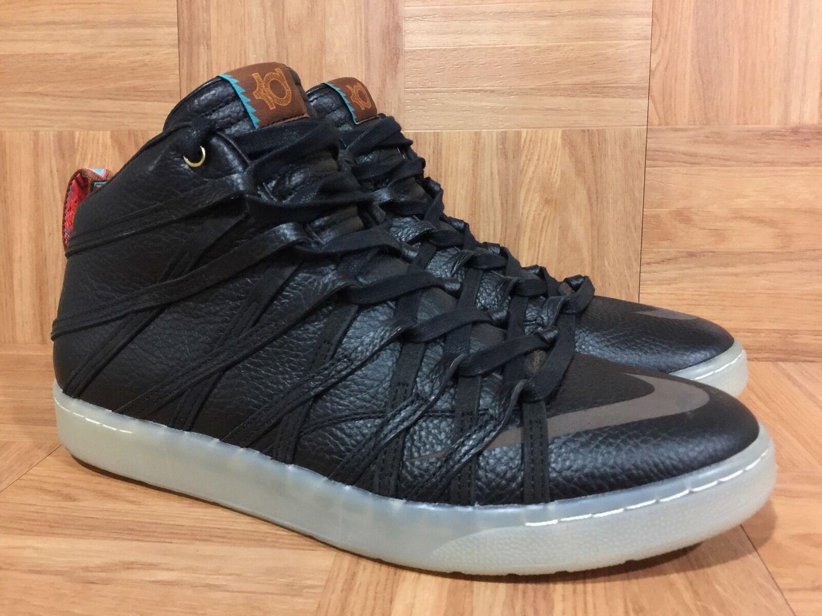 RARE Nike KD VII NSW Lifestyle Black Metallic gold Leather 12 653871-001 LE