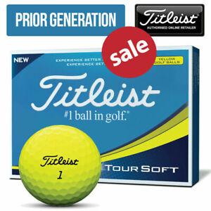 Titleist-Tour-Soft-Balles-de-golf-Jaune-douzaine-amp-3-Manche-Packs-Nouveau-modele-2019