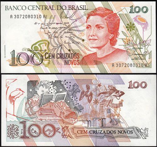 BRAZIL 100 CRUZADOS NOVOS 1989 UNC ½ BUNDLE CONSECUTIVE PACK 50 PCS P.220a Sg 26