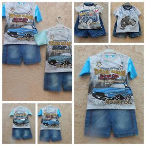 2 teiliges  Baby Jungen-Set: Jeans-Short + T-Shirt