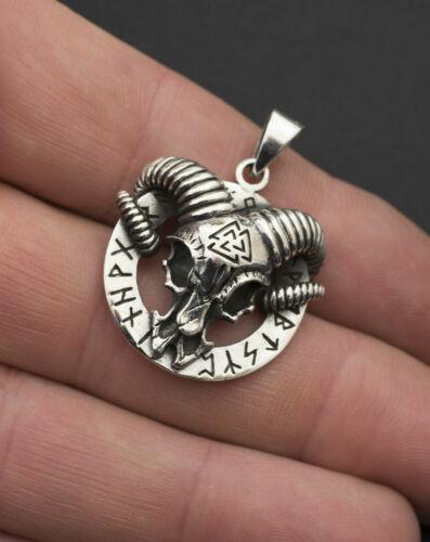 Pendentif Tête de Belier Viking Talisman Celte en Argent massif 925 11g 26365