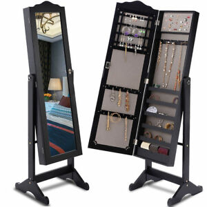 Lockable Mirrored Jewelry Cabinet Armoire Mirror Organizer Storage