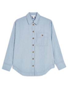New-Ex-Topshop-Collared-Blue-Cotton-Chambray-Shirt-Blouse-RRP-32
