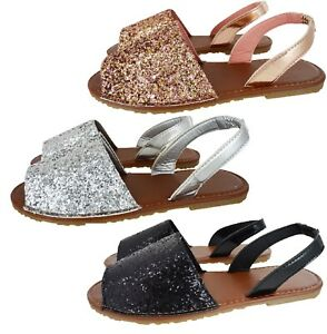 3d5ab90f21 Image is loading LADIES-SUMMER-COMFY-FLAT-GLITTER-SANDALS-WOMENS-OPEN-