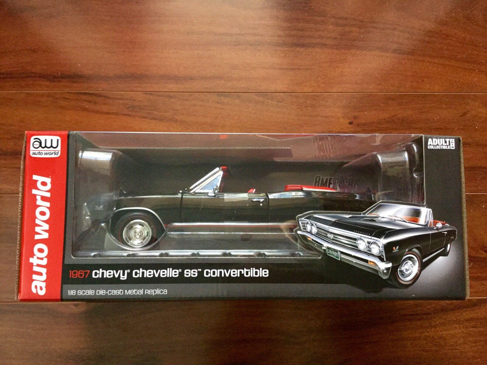 Auto World 1 18 D C Negro 1967 Chevrolet Chevelle Ss Converdeible Ltd editar   1048 F S