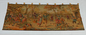 Vintage French Beautiful Party And Dancing Scene Tapestry 173x62cm (T579)