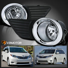 2011-2015 Toyota Sienna Clear Front Bumper Fog Lights Driving Lamps+Switch