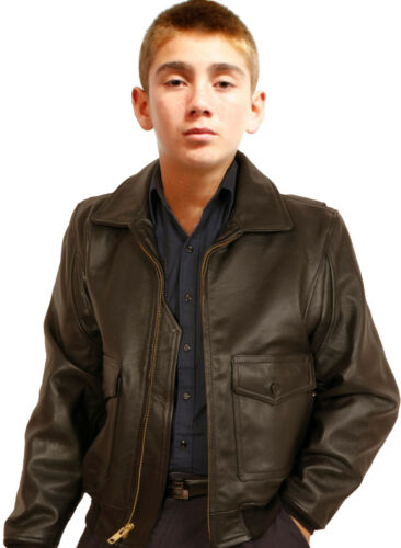 Kids G1 Navy Leather Bomber Jacket Made in the USA K-G1