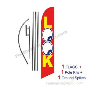 LOOK 15' Feather Banner Swooper Flag Kit with pole+spike