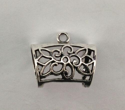 10PCS Antiqued silver Floral Design Scarf Ring Bails FC15444