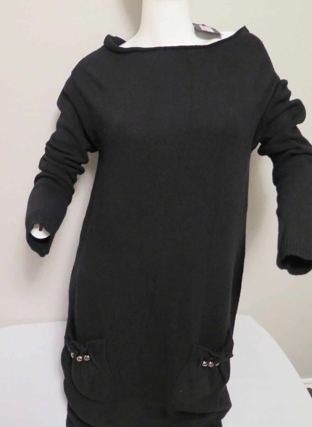 Twin Set  NEW schwarz Knitted Sweater Jumper Mini Dress with packets Größe M