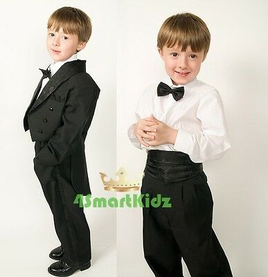 5 Pcs Set Boy Formal Wedding Suit Tuxedo Tail Page Boy Black Kid Child Sz 8 #001