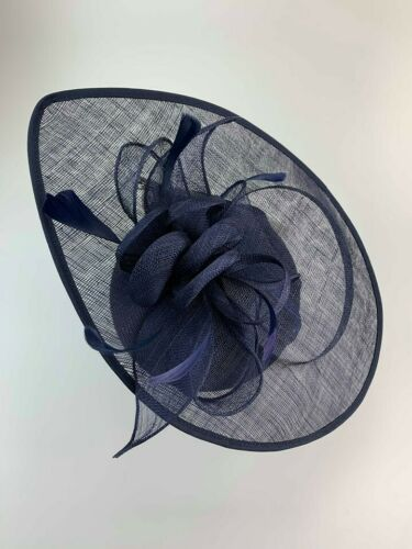 Navy Sinamay Fascinator Ladies Hats Navy Hatinator Race Day Wedding Guest MOB