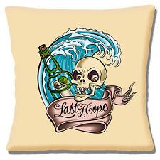 "Sailor Jerry Cushion Cover 16""x16"" 40cm 'Last Hope' Tattoo Skull Wave Bottle"