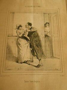 Litho-1849-Guerre-des-femmes-Saisie-d-039-une-depeche