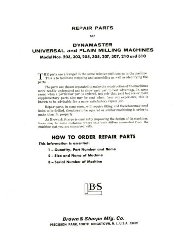 Brown /& Sharpe Dynamaster Milling Machines 203 303 /& 305 Part Manual 1222 205