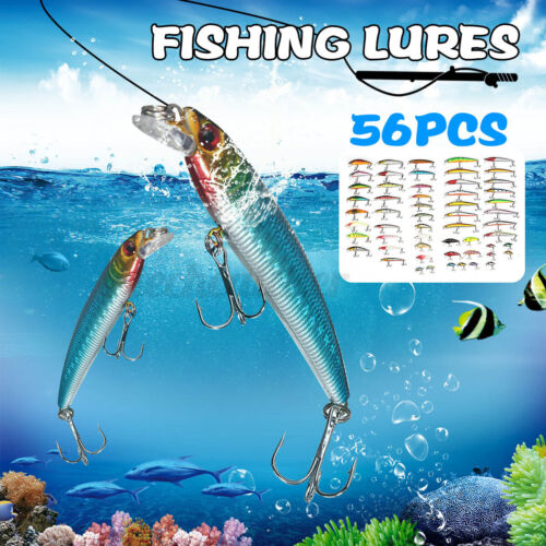 56Pcs Lot Mixed Minnow Fishing Lures Bass Baits Crankbaits Hooks Bass Tackle Kit