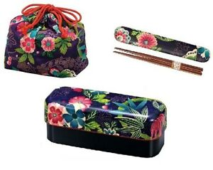 New-BENTO-Lunch-Box-Chopsticks-Purse-3-set-Microwave-OK-Japanese-design-Japan