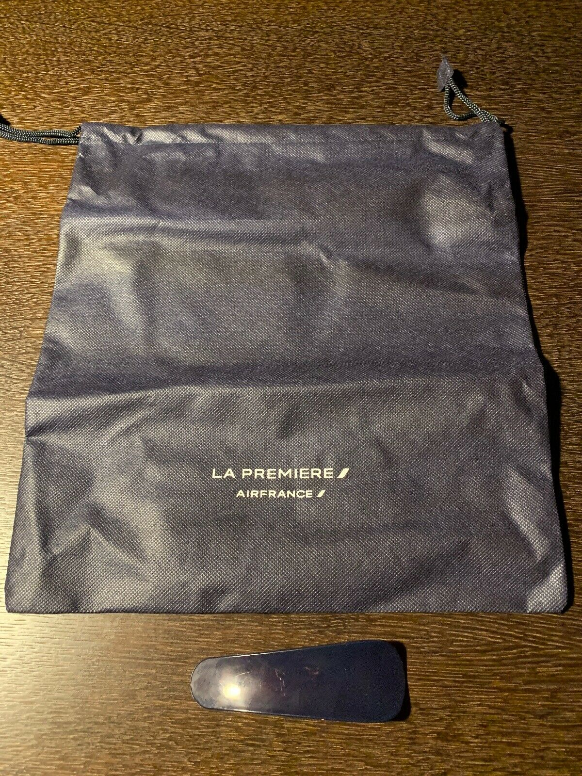 Air France La Première First Class Navy Shoe Bag and Shoe Horn