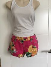 "RALPH LAUREN FLORAL PINK DENIM SHORTS . Size 28"" W  ( UK 10 ) BNWT. **"