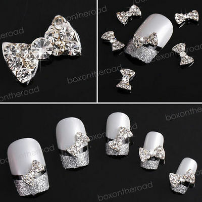 10PC 3D Alloy Clear Rhinestones Crystal Bow Tie Nail Art Glitters DIY Decoration