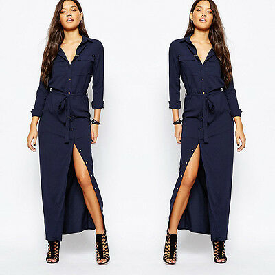 Women Summer Casual Maxi Long Sleeve Chiffon Evening Party Ankle Length Dress