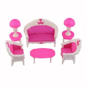 Toys-For-Barbie-Doll-Sofa-Chair-Couch-Desk-Lamp-Furniture-Set-Disassembled-IC