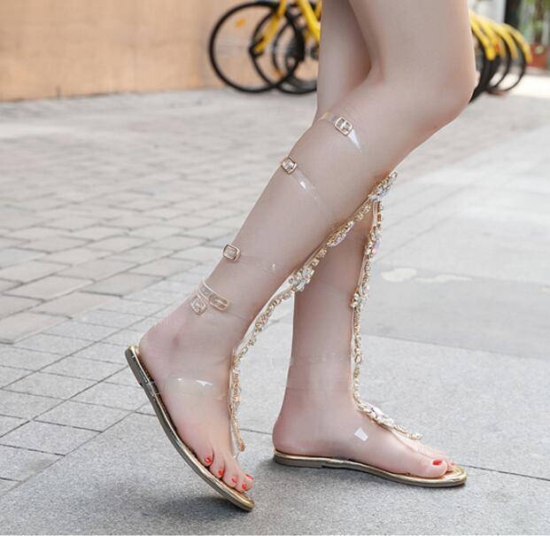la femme est gladiateur roman strass transparent knee knee knee high clip toe sandales chaussures f0c61e