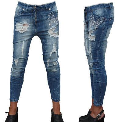 Amichevole Jeans Donna Jeans Pantaloni Donna Pantaloni Sexy Jeans A Sigaretta Hüftjeans Blu 34 Xs #832-mostra Il Titolo Originale