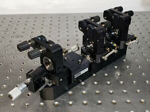 3-Gimbal-Mirror-Mount-w-Linear-Slide-Stages-on-Rail-for-Bowtie-Laser-Resonator