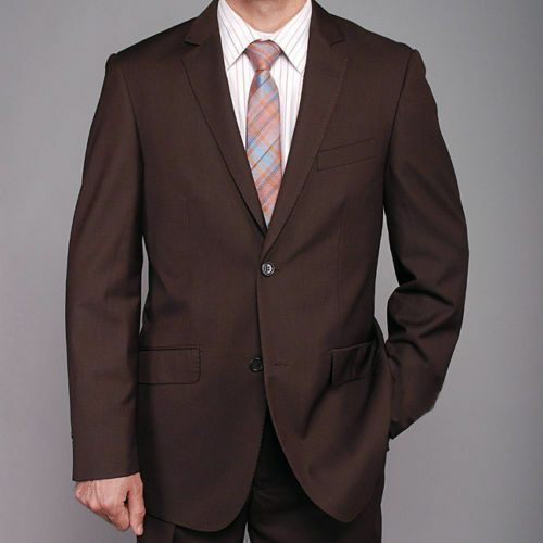 Bertolini Classic Fit Brown 38R 32W Two Button Two Piece Suit Wool & Silk