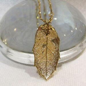 Vintage-Gold-Filled-Necklace-1-20-12k-Chain-18k-Gold-Dipped-Real-Leaf