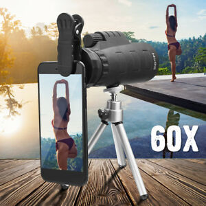 Monocular-50X60-Zoom-Optical-HD-Lens-Hiking-Telescope-Tripod-Clip-For-iPhone-X