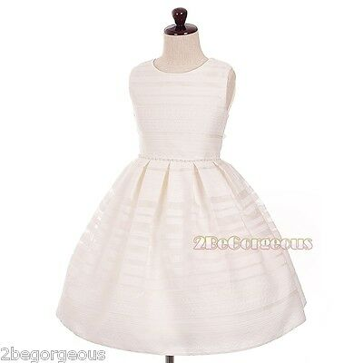 Box Pleated Embroidery Dress Wedding Flower Girl Bridesmaid Ivory Size 3-10y 334