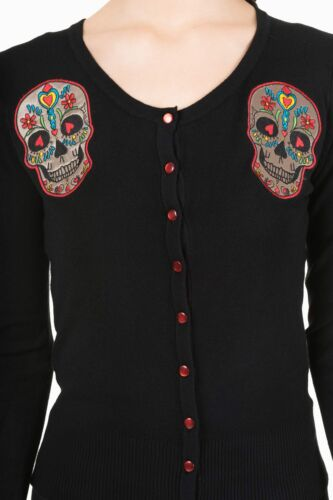 Day of the Dead Flower Heart Sugar Skull Embroidery Black Sweater Cardigan