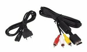 New PS2 AV Cable &  AC Power Cord Bundle (For Original Sony Playstation 2)