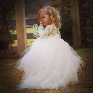 ad343e4e38 Details about Long Sleeve Princess Gown New Kids Flower Girl Dress Lace  Wedding Party Birthday